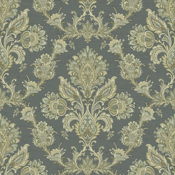 Kerala Blue Jacobean Damask Wallpaper