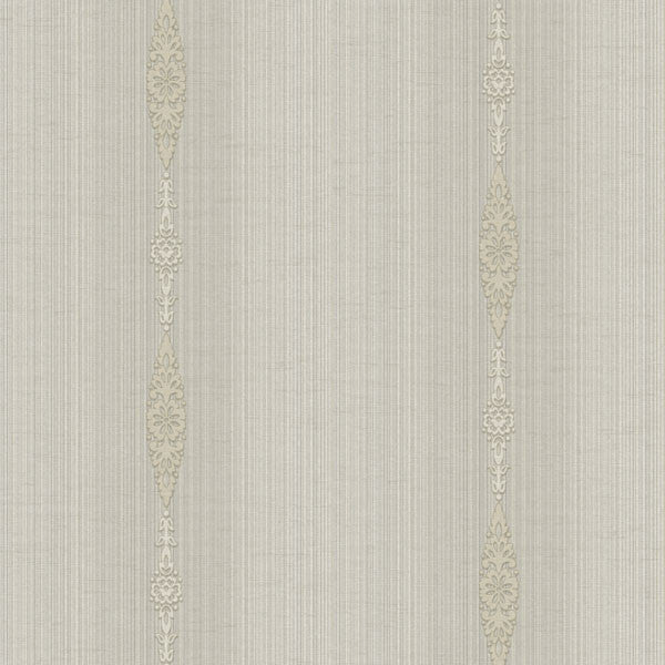 Devi Taupe Embellished Stripe Wallpaper