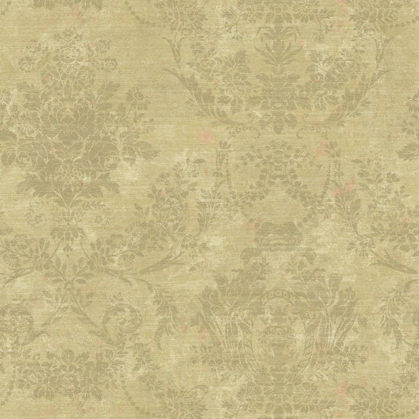Kali Brown Floral Damask Wallpaper