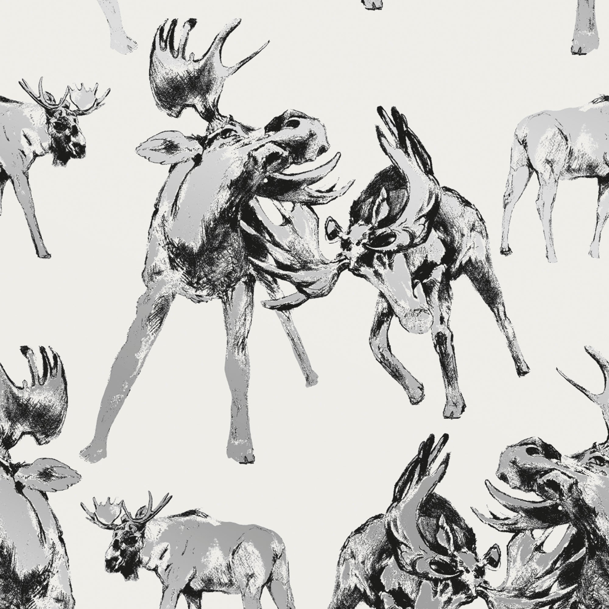 Roald Off-White Moose Wallpaper