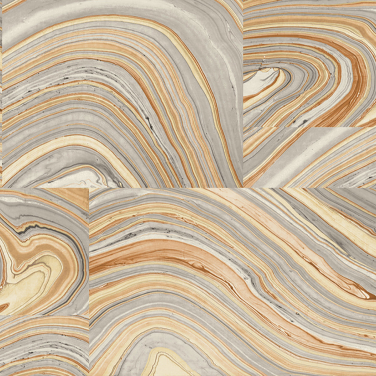 Dream On Onyx Wallpaper in Orange/rust