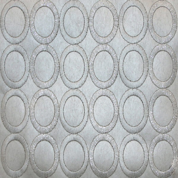 Dream On Embroidered Circles Wallpaper in Grey/silver