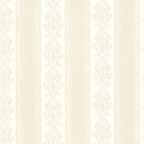 Eastport Ivory Arabelle Stripe Wallpaper