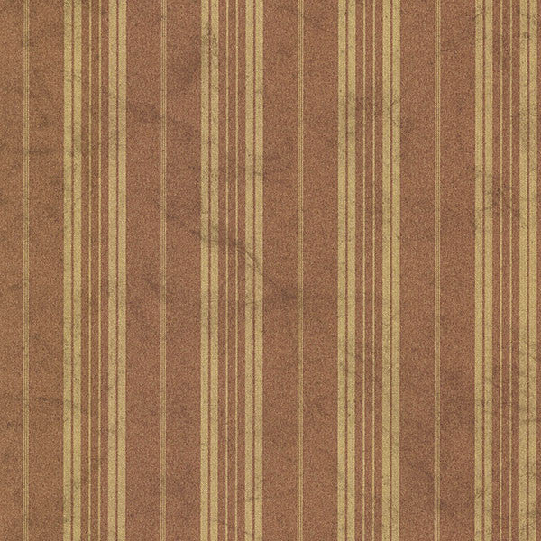 Wiscasset Burnt Sienna Farmhouse Stripe Wallpaper