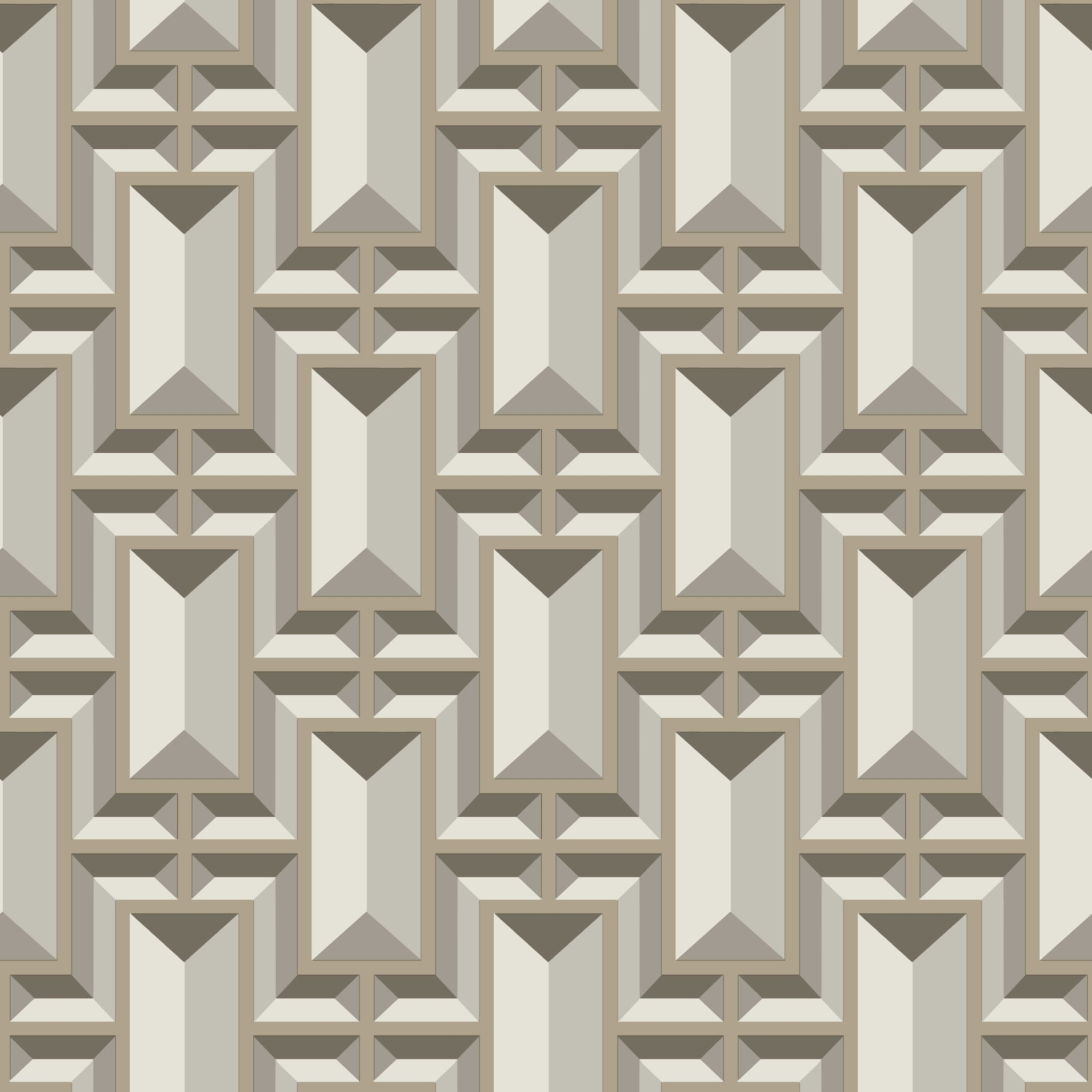 Ashford House Facet Geo Wallpaper - Taupe