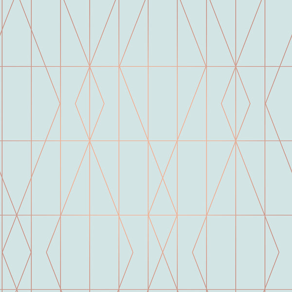 LeVeque Light Blue Deco Diamond Geo Wallpaper