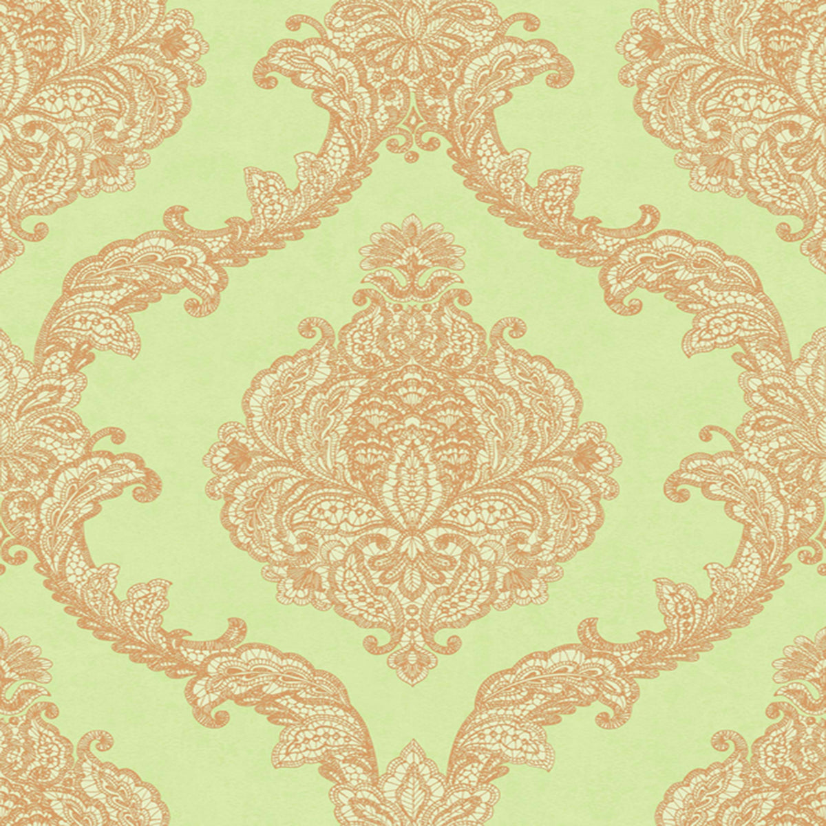 Mixed Metals Chantilly Lace Wallpaper in Green