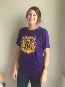 """Hear me Roar"" Purple/Gold Tee"