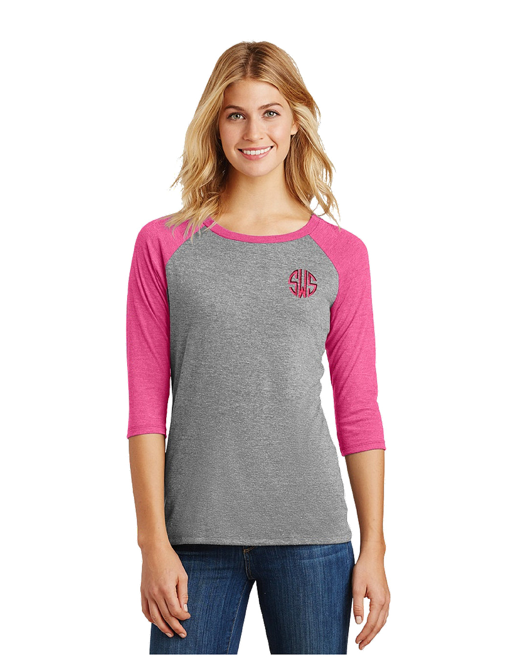 Frosted Gray and Pink Raglan
