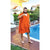 Cacala Poncho Bathrobe for Pool Orange Color