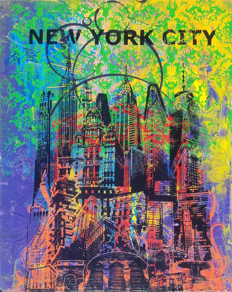 """The Big Apple"" Origianl One of One Printed Canvas 16"" X 20"""