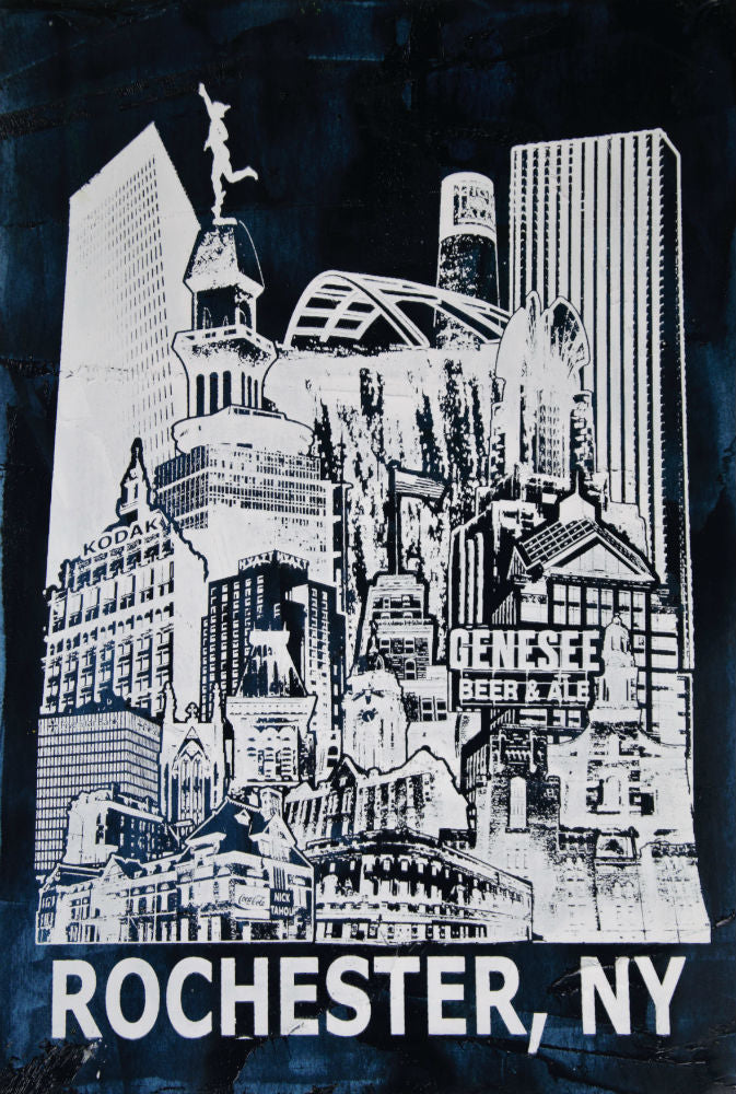 The Rochester NY Skyline Art Screen Print Poster 13 X 19