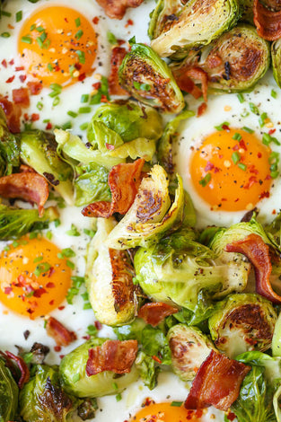 Brussels sprouts, eggs, bacon