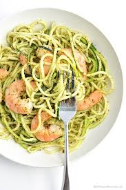 Zucchini Noodles with Pesto & Grilled Shrimp