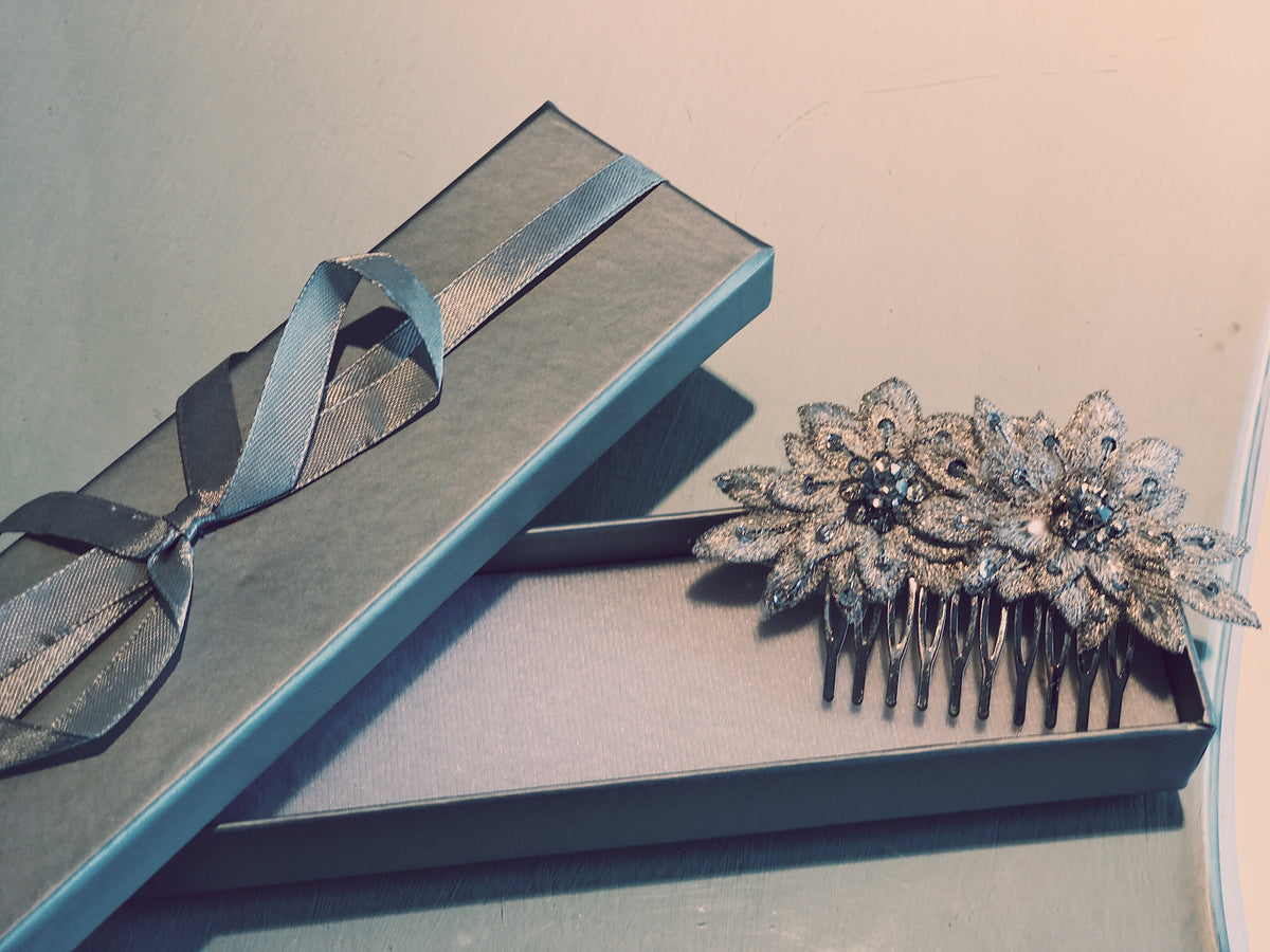 Bridal Hair Barrette With Silver Flower Applique