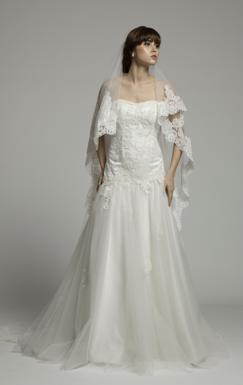 Colette-French Lace Cathedral Length Bridal Veil