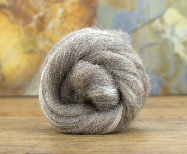 Oatmeal Bluefaced Leicester Wool and Bleached Tussah Silk - Top / Roving