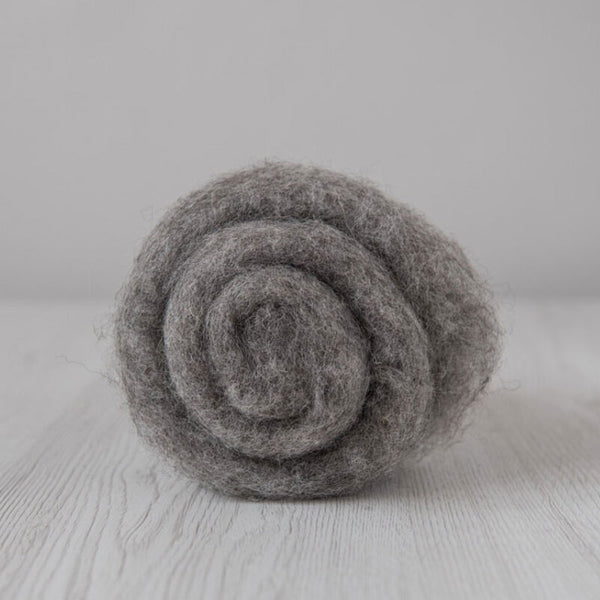 Bergschaf Wool Carded Batt - Natural Grey