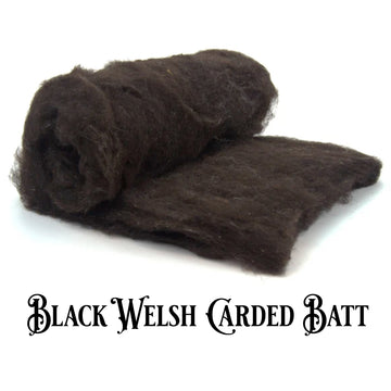 Welsh Wool Carded Batt -Natural Black-7 oz