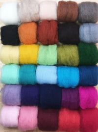 Corriedale Bulky Wool Roving-Sample Pack-30 Colors
