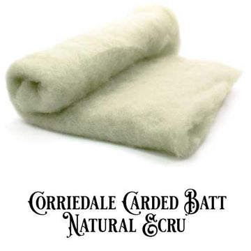Corriedale Wool Carded Batt - Ecru-7 oz