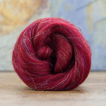 Glitzy Ruby Merino Roving / Top