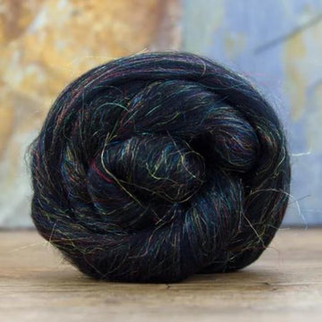 Glitzy Black Merino Roving / Top