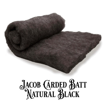 Jacob Wool Carded Batt -Natural Black-7 oz