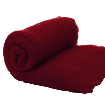 Merino Wool Carded Batt - Ruby-7 oz