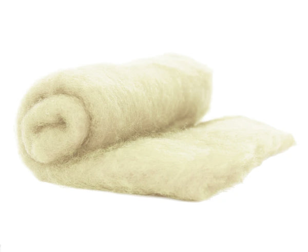 Norwegian Wool Carded Batt - Ecru-7 oz