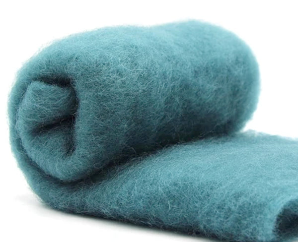 NZ Perendale Wool Carded Batt - Teal -7 oz
