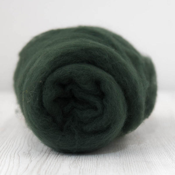 Beautiful Deep Green Superfine Merino Carded Batt