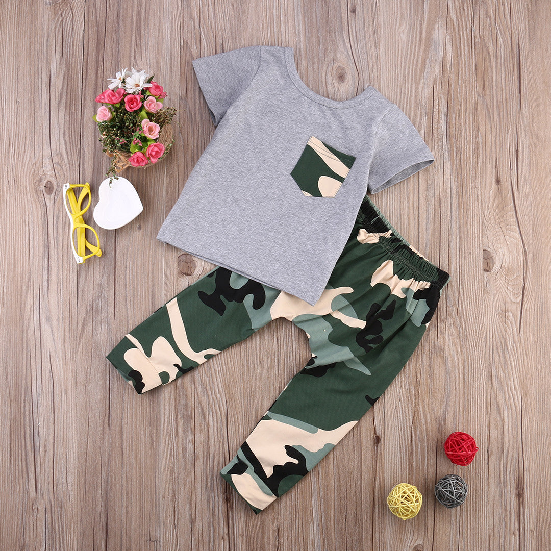 Newborn Baby Kids Boys Outfits Clothes Babies Summer Short Sleeve Tshirt Tops+Camouflage Pants 2pcs Outfit Clothing Sets
