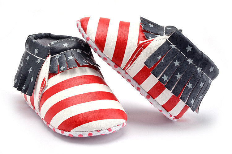 Striped Flag PU Leather Baby Moccasins Non-slip Soft Soles (First Walker Crib Shoes)