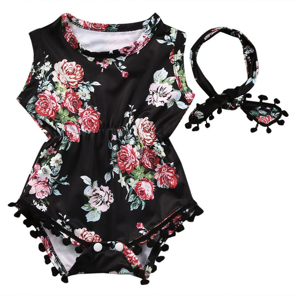 Lovely Baby Girl Romper Clothes 2017 Summer Floral Tassel Bodysuit Jumpsuit +Headband 2PCS Outfit Sunsuit Tracksuit Clothing Set
