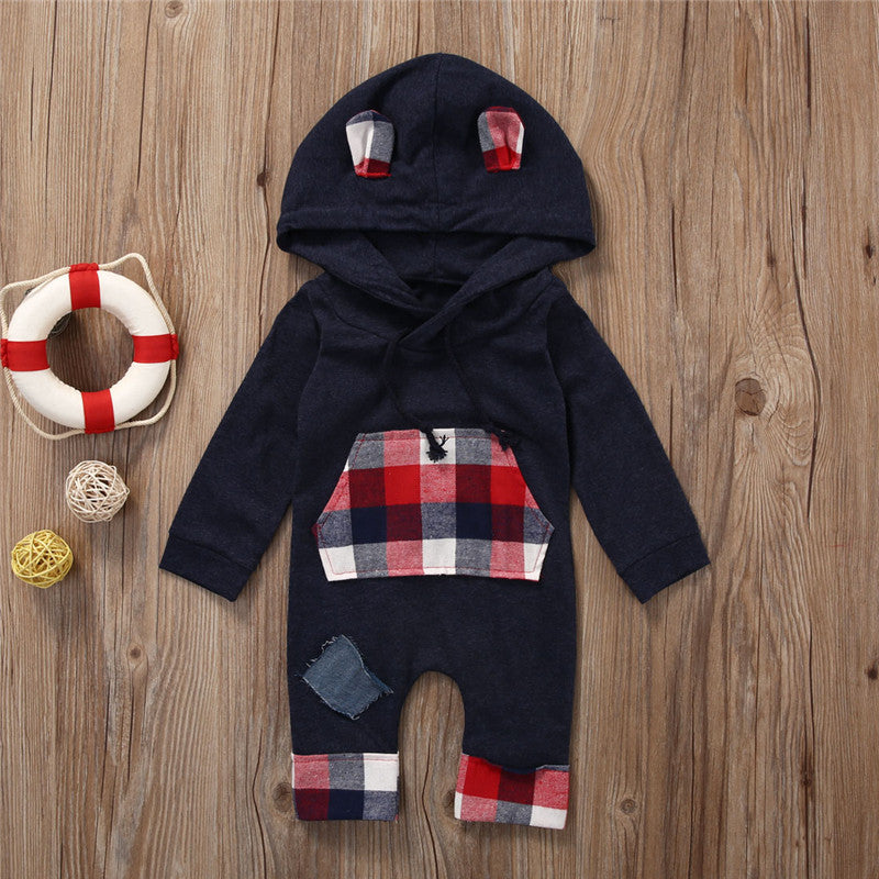 Cute Spring Autumn Newborn Baby Boys Girl Long Sleeve Check Clothes Plaid Hooded Jumpsuit Romper Outfits