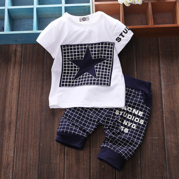 T-shirt+Pants Star Printed Tracksuit
