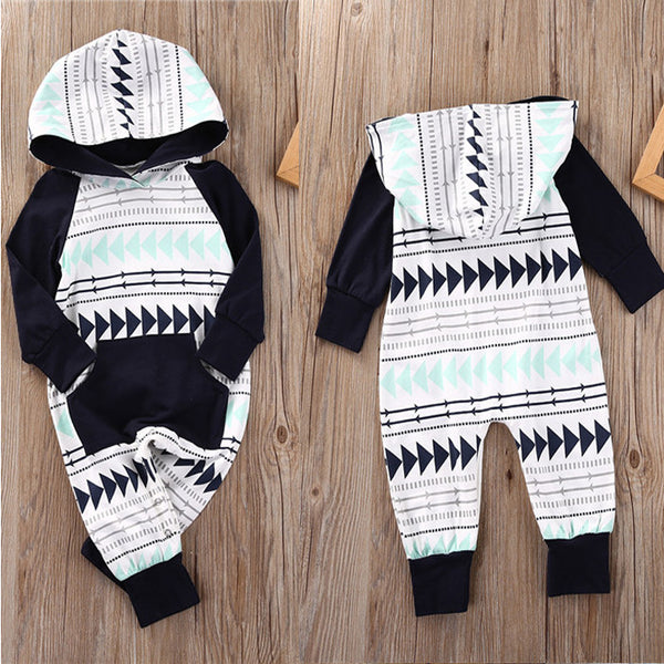 Tri-Pattern Hooded Jumpsuit