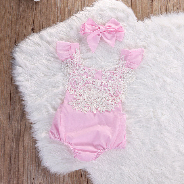 Newborn Infant Baby Girls Lace Floral Clothes Bodysuits Flower Pink Jumpsuit Headband Outfits Baby Clothing Sunsuit 0-18M