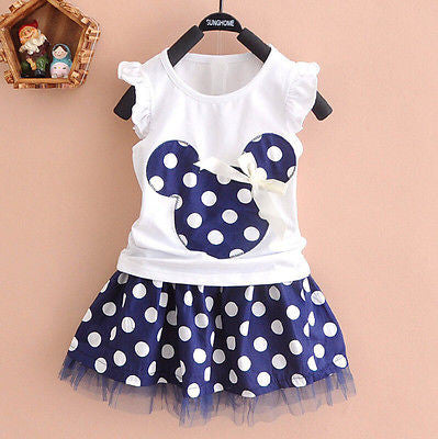 2017 Summer Fashion Baby Kid Girls Dress Set Princess Clothes Cartoon Party Mini Dress