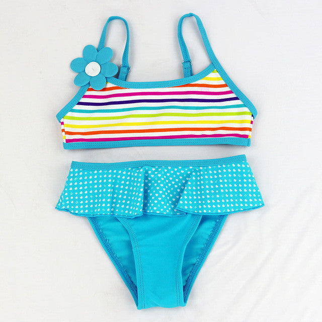 Girls split Two-pieces swimwear bikini children's swimwear girls bathing suits baby Floral swimming suit girl swimwear beachwear