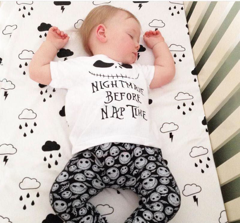 Fashion Summer Baby Boy Girls clothes Short sleeve Nightmare Letter Top+Pants 2pcs Cotton Baby Girl/Boys Clothing Sets