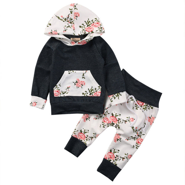 2pcs!!Newborn Baby Boy Girl Floral Clothes Long Sleeve Hooded Tops+Floral Long Pants Leggings 2pcs Outfits Set