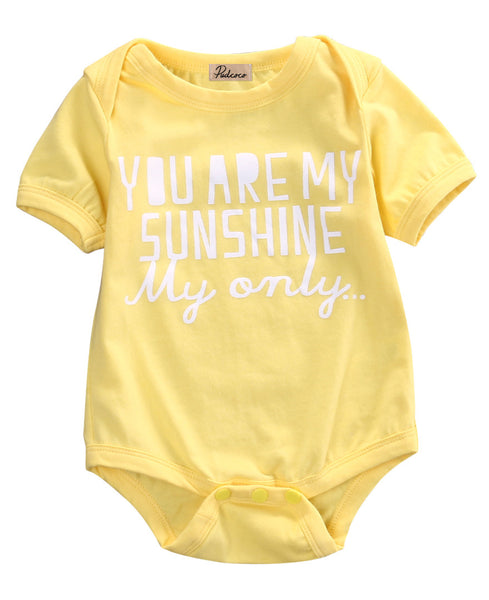 2016 Newborn Infant Kids Baby Boy Girl Cotton Short Sleeve Letter Jumpsuit Yellow Bodysuit Summer Clothes Outfit