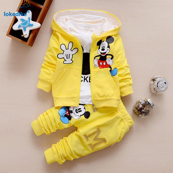 2016 New Chidren Kids Boys Clothing Set Autumn Winter 3 Piece Sets Hooded Coat Suits Fall Cotton Baby Boys Clothes mouse T657