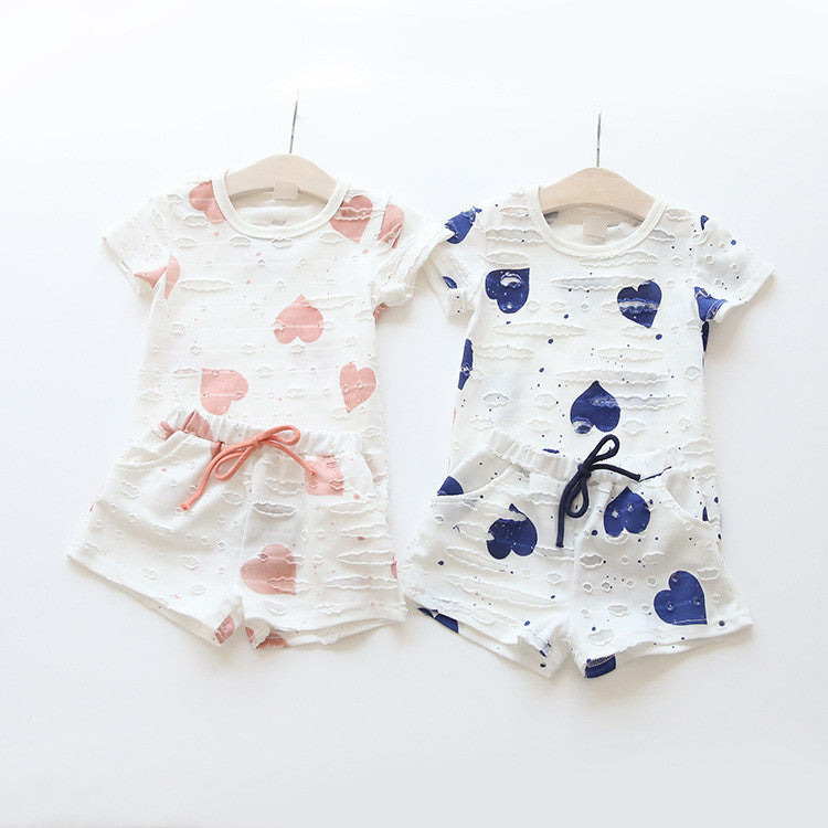 Hurave Casual Kids Clothing Baby Girls Clothes Sets Summer Heart Printed Girl Tops Shirts + Shorts Suits Children's Clothing