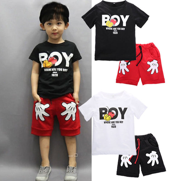2016 New Arrival Toddler Baby Boy Cartoon Clothes Sets Short Sleeve Shirt+ Cute Shorts Summer Children Sets for boy