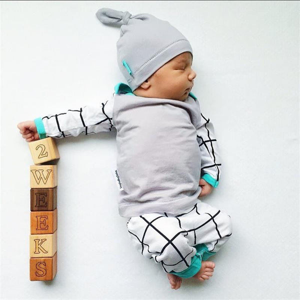3PCS Infant Casual Long Sleeve + Pants Legging w/ Hat Outfit