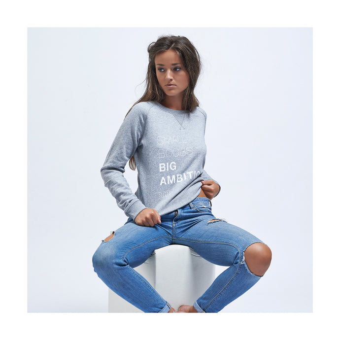 SWEATER - SMALL BOOBS - long sleeves - Light Grey