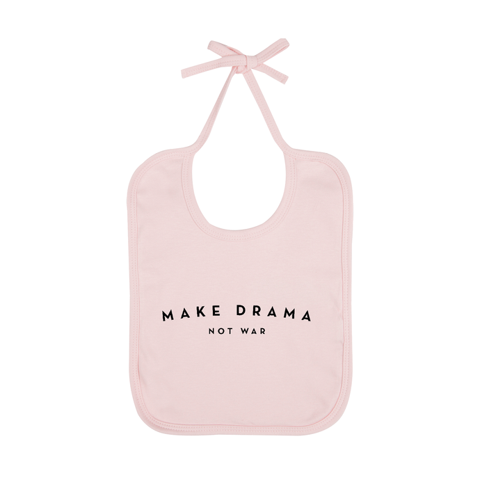 BABY BIB - MAKE DRAMA NOT WAR - Pink